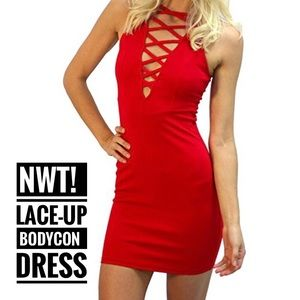 NWT! Red Lace-Up Bodycon Mini Dress